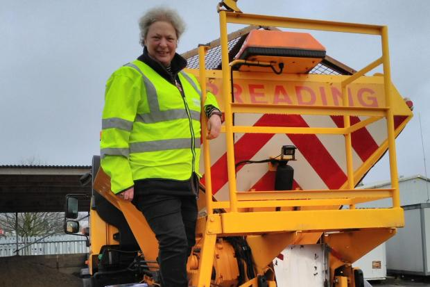 Cllr Cosima Towneley with a gritter.