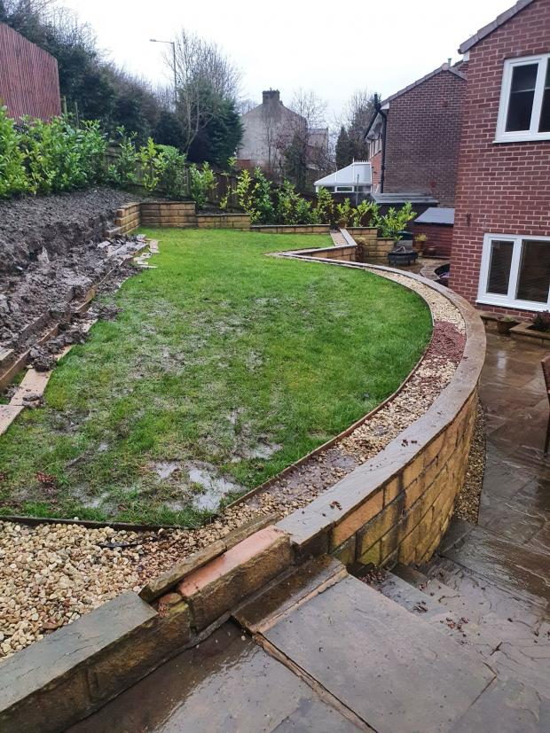 Lancashire Telegraph: The damage caused to Jackie's garden due to the burst pipe on Friday night, which left 400 households in Billington without water
