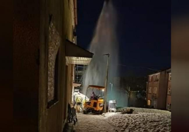 The burst water main on Douglas Place