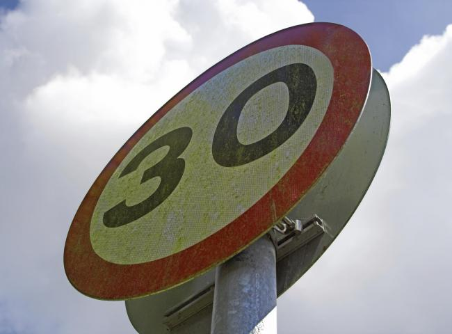 Sign for a 30mph speed limit