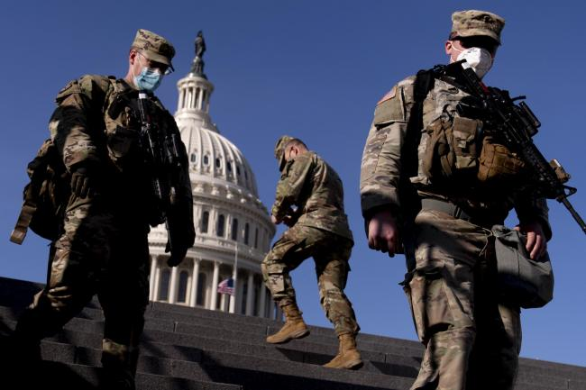 Members of the National Guard on Capitol Hill in Washington