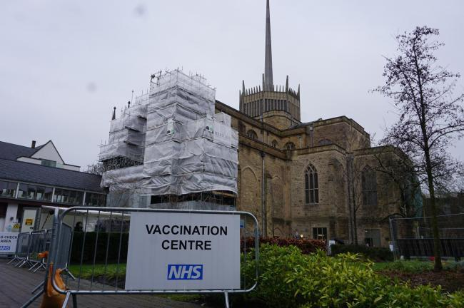 The Covid vaccination centre at Blackburn Cathedral
