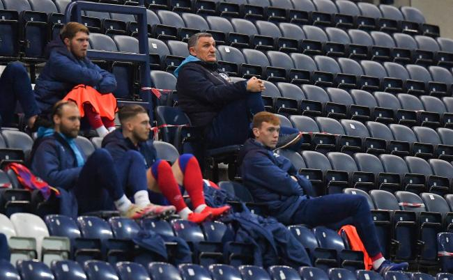 Tony Mowbray watching on from the stands against Preston North End in November