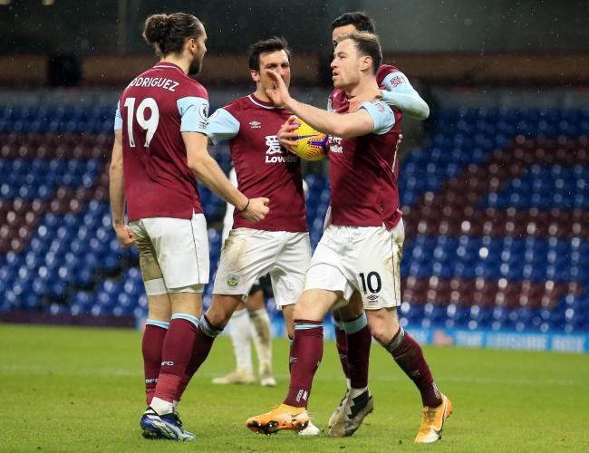 Ashley Barnes (right) celebrates scoring Burnley's equaliser against Fulham