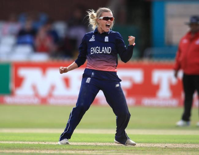 England's Alex Hartley celebrates the wicket of New Zealand's Holly Huddlestone during the Women's World Cup match at the The County Ground, Derby..