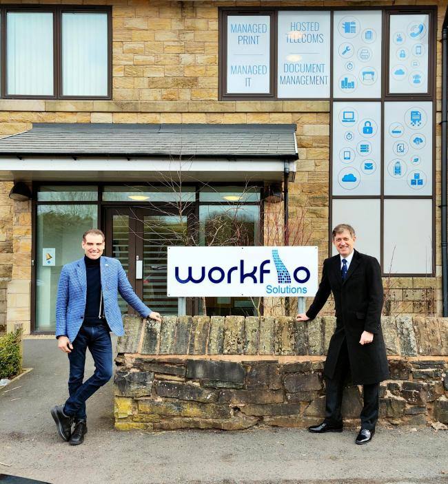 Workflo Solutions: Managing director Mark Field opening the new hub with Hyndburn Borough Council leader Miles Parkinson OBE