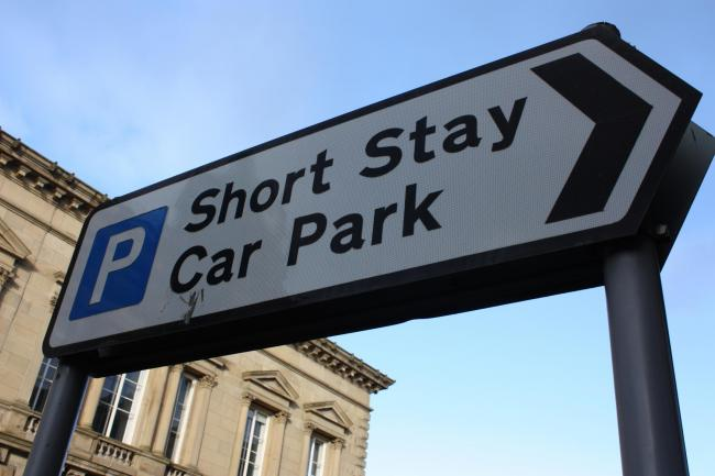 A shortstay car park sign in Burnley