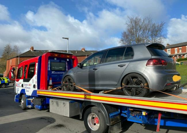 The Volkswagen Golf was seized after it has been reported to be revving its engine at traffic lights at midnight