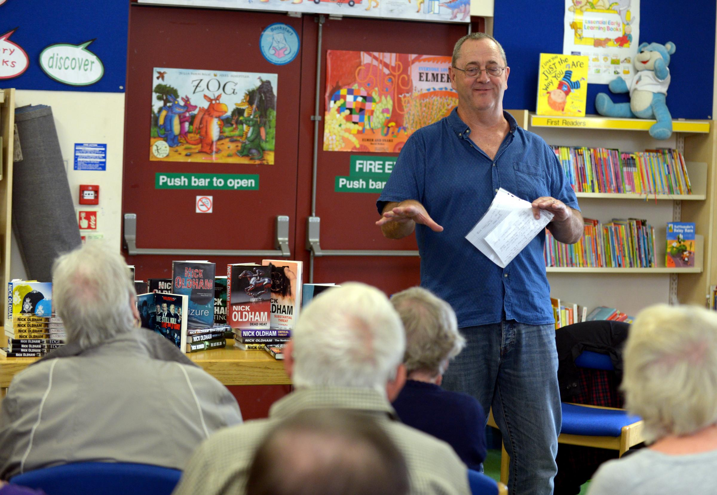 Retired police officer and writer Nick Oldham gives a talk at Great Harwood Library in 2016