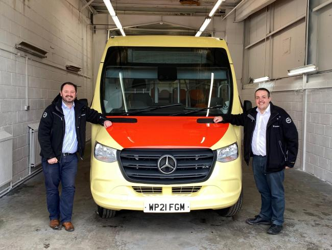 Ribble Country: Transdev CEO Alex Horby (left) with operations director Vitto Pizzuti and a new Mellor Strata Ultra bus