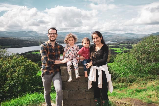 New career: Ben Dale with daughters Emilia and Gabriela and wife Laura