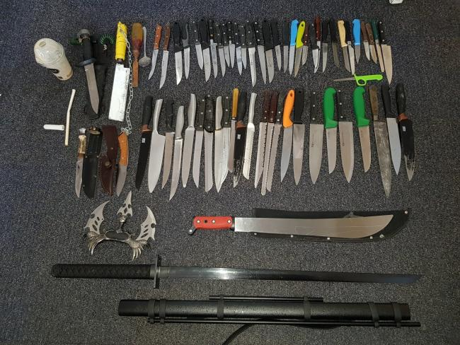 The knives were recovered from Burnley's knife bin