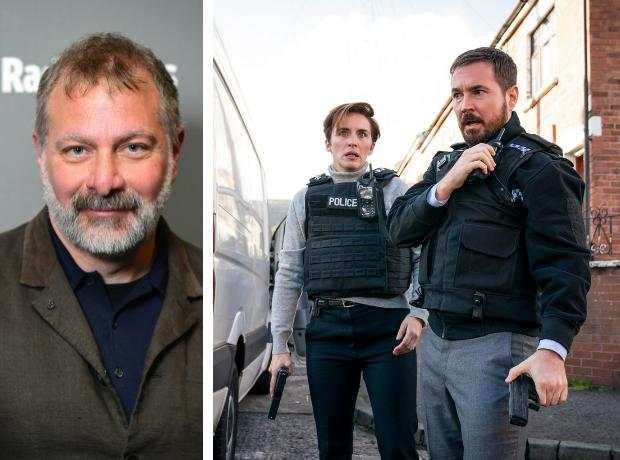 The writer of Line of Duty, Jed Mercurio. Right, Vicky McClure as Kate Fleming and Martin Compston, who plays Steve Arnott