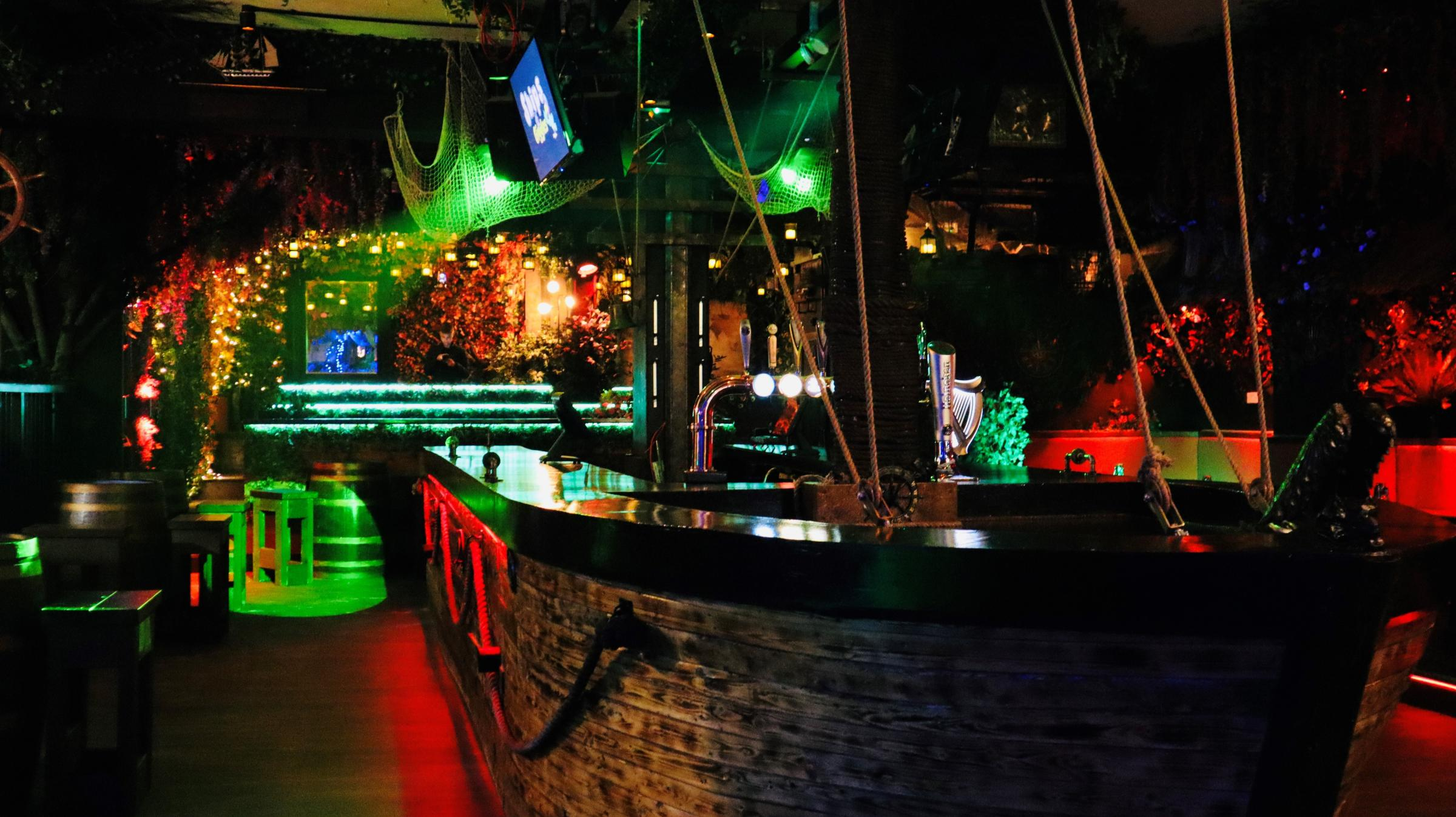 The bar is in the shape of a pirate ship