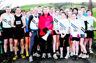 READY TO GO: Athletes line up before the Rivington Pike fell race