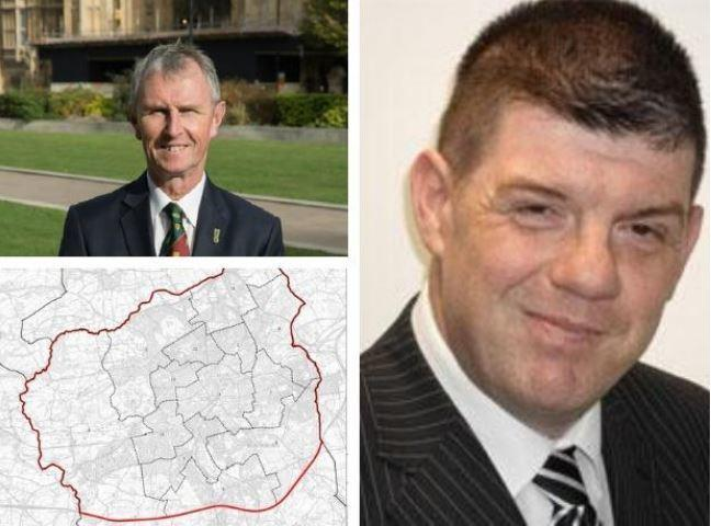 MP Nigel Evans, Cllr Ged Mirfin and the Ribble Vally constituency map