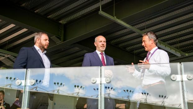 Lancashire Telegraph: Doug Metcalfe discussing the new stand with MP's Justin Tomlinson and Anthony Higginbotham