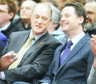 CAMPAIGN TRAIL: Liberal Democrat leader Nick Clegg with party candidate Gordon Birtwistle