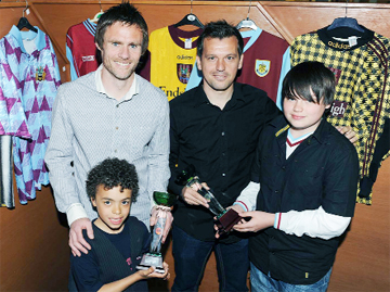 TOP MEN: Robbie Blake accepts the Colne Clarets' Goal of the Season and Graham Alexander the Player of the Season award from young fans Layton Marsden and Jordan Holden