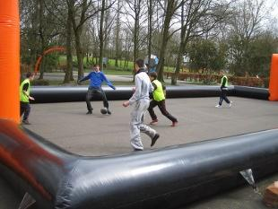 Youngsters try out the inflatable pitch