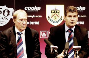 STANDING BY HIS MAN: Clarets chairman Barry Kilby with manager Brian Laws, pictured on the day Laws was appointed as boss back in January
