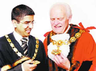 CHAINS OF OFFICE: New Pendle mayor Anthony Beckett and deputy Nadeem Ahmed