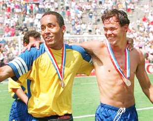 THIRD PLACE: Martin Dahlin with his World Cup medal from 1994 after Sweden had finished in third spot