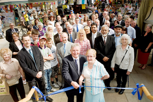 OPEN FOR BUSINESS: Coun Peter Britcliffe and Coun Marlene Haworth officially open the refurbished Accrington Market Hall