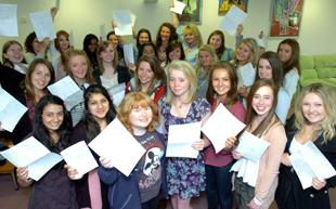 CHEERS: Pupils at Westholme in Blackburn celebrate their results