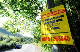 APPEAL: A police notice at the scene of the fatal accident