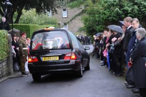 RESPECT: The hearse in Earby this morning