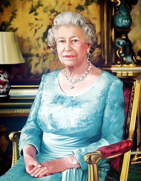 UNVEILING: Isobel Peachey's portait of the Queen will go on display this evening