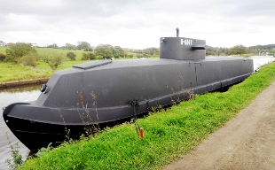 'German submarine' surfaces on Leeds and Liverpool canal
