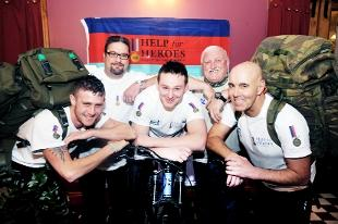 READY TO ROLL: All set for their endurance tests in aid of the Help for Heroes charity are, front from left, Joe Miller, Terry Hartley and Archie Vance, with helpers Mick Thompson and Neil Butterworth