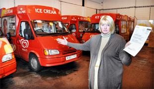 FACING RUIN: Catherine Elliot with her fleet of ice cream vans which could be forced off the road