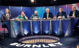 VIEWPOINTS The panel, from left, Claret Clarke Carlisle, Environment Secretary Caroline Spelman, former Respect MP George Galloway, host David Dimbleby, former Prime Minster's communications director Alastair Campbell, and Lib Dem MP Simon Hughes