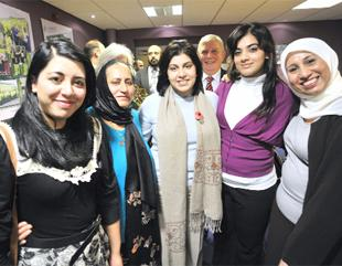 GOOD WORK Baroness Warsi (centre) meeting AAWAZ chair Saeeda Farooq (second from left) with members Ashia Malik, Ribina Amin and Zulekha Dala, and Hyndburn Council leader Peter Britcliffe