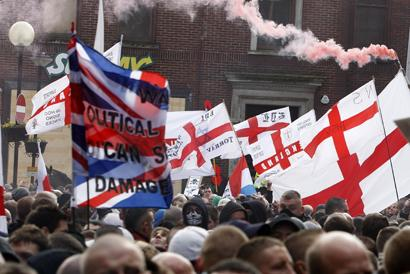 PROTEST English Defence League supporters in Blackburn today