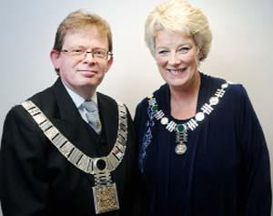 NEW ROLE New Mayor Coun Simon Hore with his wife and Mayoress Grace