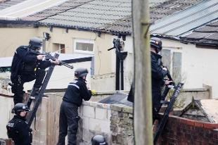 SCENE Police at the house in Rishton