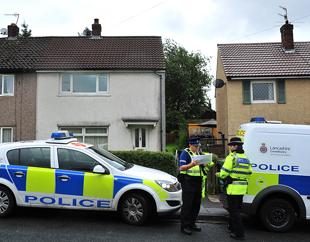 SCENE Police in Barnoldswick today