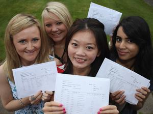 SUCCESS: Pupils at Westholme in Blackburn (L-R: Abi Harwood, Rachel Moodie, Rebecca Stanford and Rida Hashmi) with their A-level results