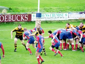 THE BEEST John Beeston charges for the line in Blackburn's 18-5 win over Egremont