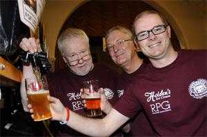 CHEERS Festival organisers, from left, Jim Fletcher and Gerry Moore and his son Matthew Moore, sample one of the many beers on offer