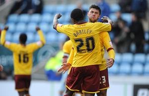 JOB DONE Burnley's Marvin Bartley and Charlie Austin celebrate after the final whistle