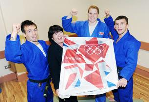 CELEBRATING From left, Craig Fallon and Coun Kate Hollern with Team GB Judo team members Karina Bryant and Nathan Burns