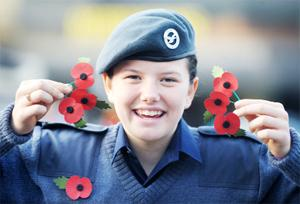 PROUD TASK Cadet Lauren Bridge, 13, of 1104 Nelson Squadron Air Training Corps, helps out with selling Remembrance Day poppies at Morrison's supermarket in Nelson