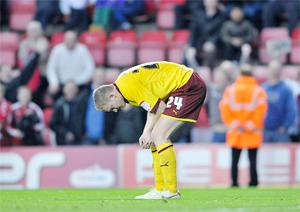 AGONY Burnley's Brian Easton  feels the pain of the loss at Bristol City