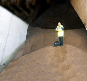 BE PREPARED Duncan Reeve with rock salt supplies at Burnley's Heasandford Council Depot