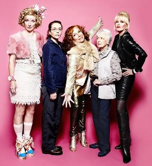 BACK TOGETHER The cast of the Ab Fab special. Above, from left: Jane Horrocks, Julia Sawalha, Jennifer Saunders, June Whitefield and Joanna Lumley.